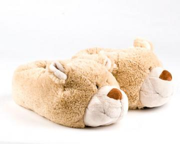 Children's Fuzzy Caramel Bear Slippers