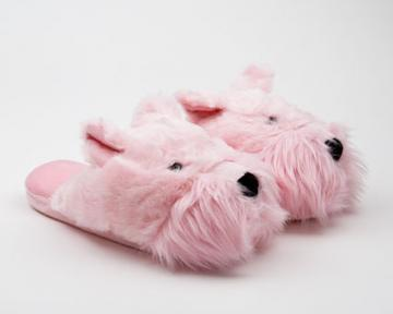 Fuzzy Pink Westie Dog Slipper