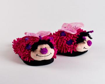 Fuzzy Pink Butterfly Slippers