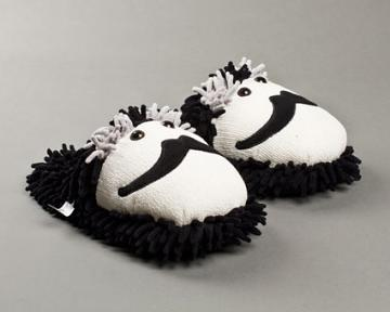 Fuzzy Moustache Slippers