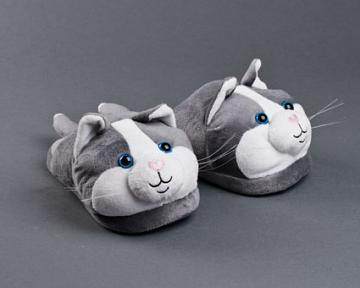 Gray And White Kitty Slippers