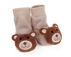 Teddy Bear Baby Rattle Socks