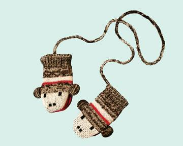 Kids Sock Monkey Mittens