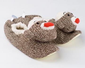 Kids Sock Monkey Slippers