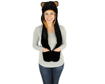 Black Bear Hooded Scarf